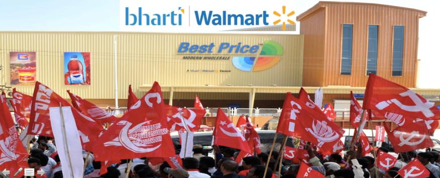 India FDI Retail WalMart-Bharti Protest